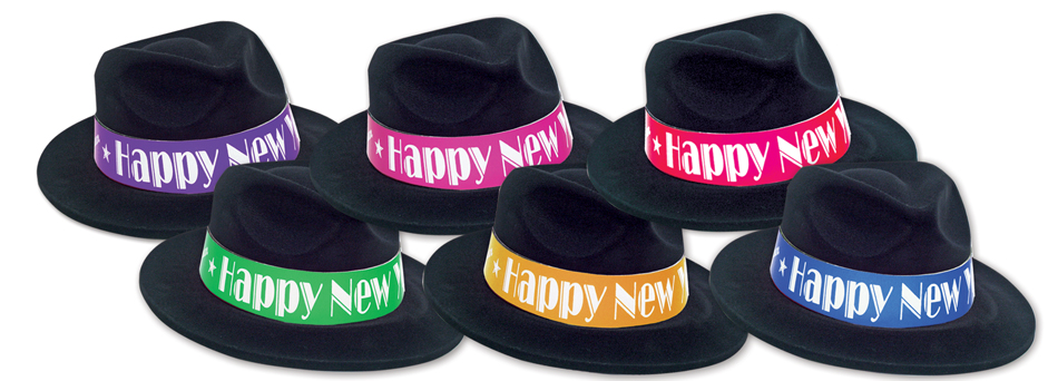 Black Velour Fedoras with HNY bands