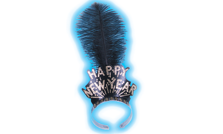 Black & Gold Happy New Year Tiara with Plume