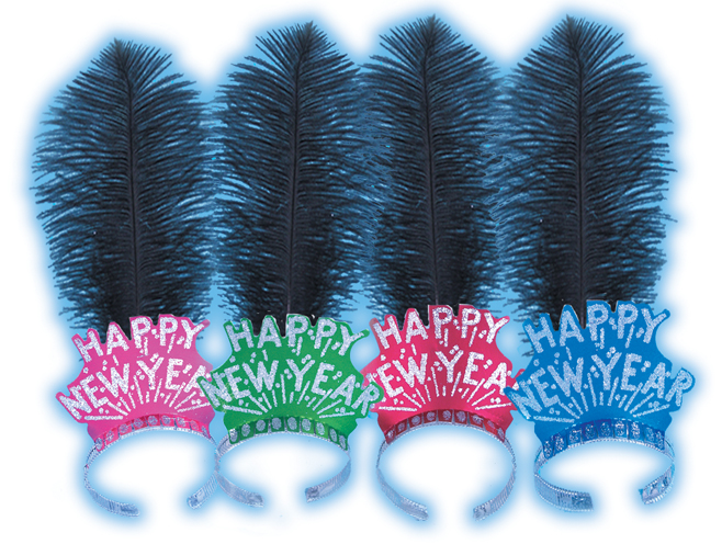 Assorted Happy New Year Tiaras with Plume
