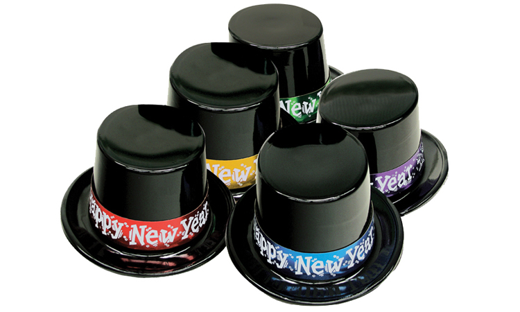 Black Plastic Top Hats with Assorted Color Happy New Year Band