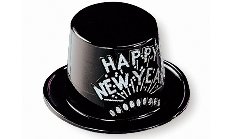 Black Plastic Top Hat with Silver Happy New Year