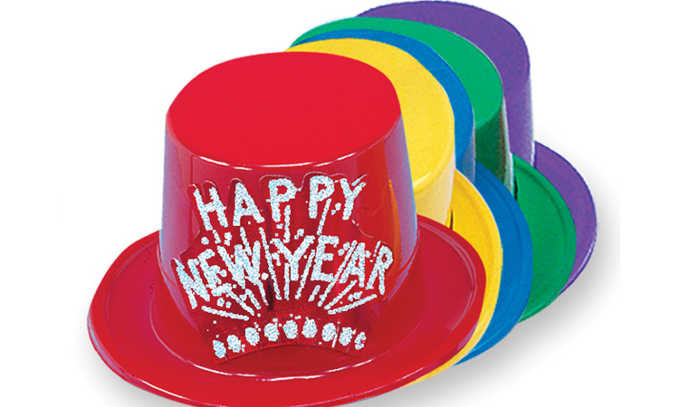 Assorted Plastic Top Hat with Silver Happy New Year