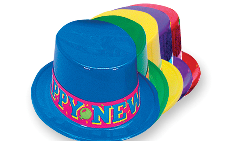 Plastic Top Hat with Neon Happy New Year Band