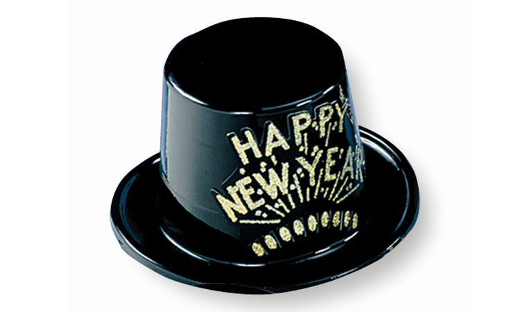 Black Plastic Top Hat with Gold Happy New Year