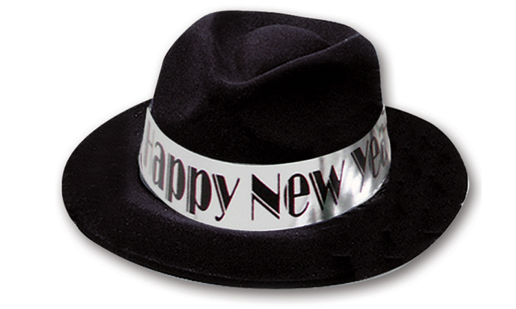 Black Velour Fedora with Happy New Year Band