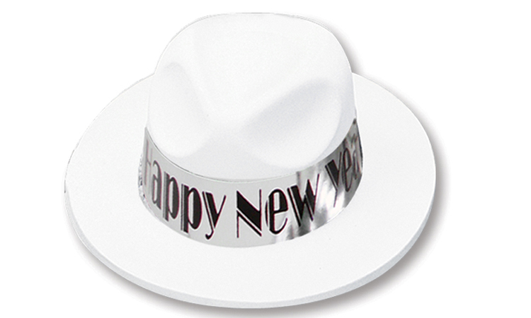 White Velour Fedora with Happy New Year Band