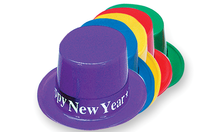 Assorted Plastic Top Hat with Happy New Year Band