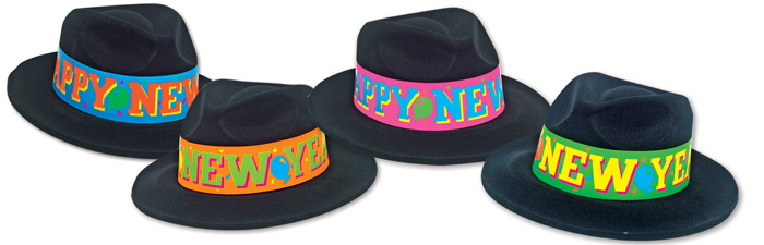 Black Velour Fedoras with NEON HNY bands