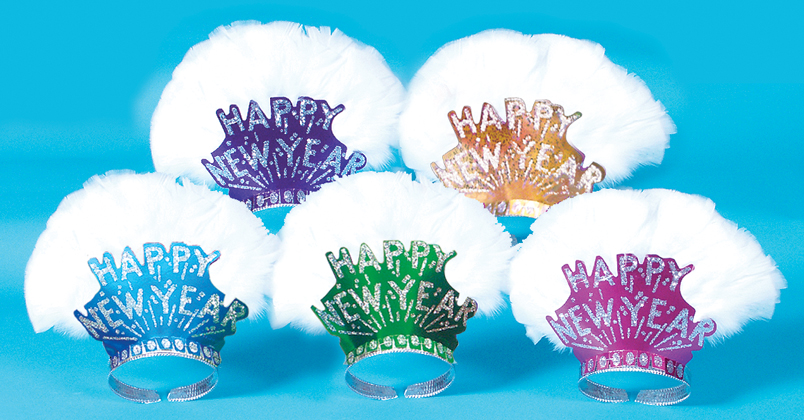 Assorted Happy New Year Tiaras with Feathers