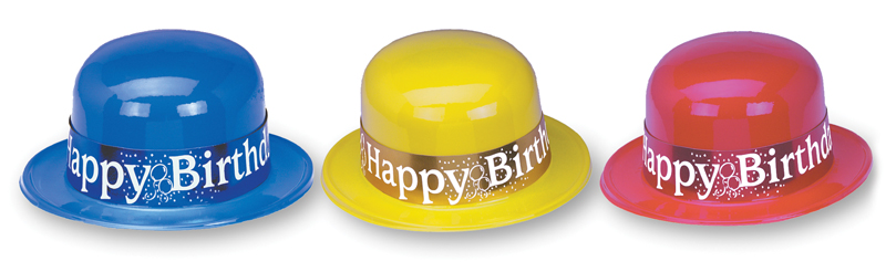 Full Size Plastic Derbies with Foil Happy Birthday Band