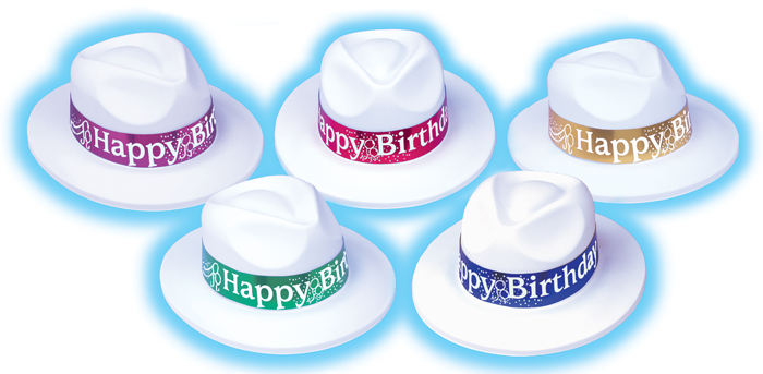 Full Size White Velour Fedora with Foil Happy Birthday Band