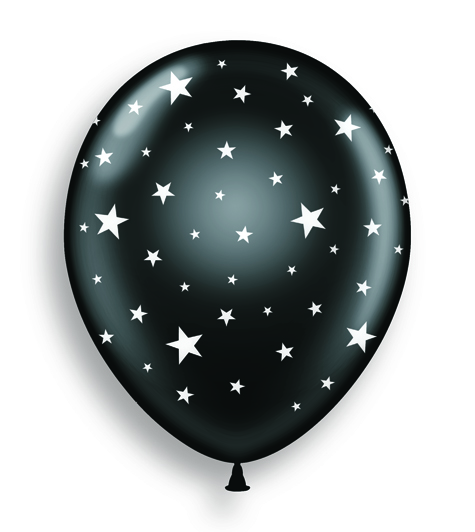 "11"" Black Crystal Balloon"