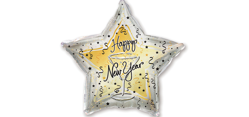 Star Design New Years Eve Microfoil Balloon