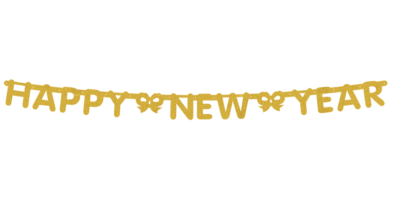 GOLD GLITTERED HAPPY NEW YEAR BANNER