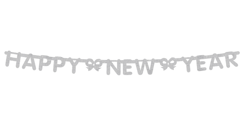 SILVER GLITTERED HAPPY NEW YEAR BANNER