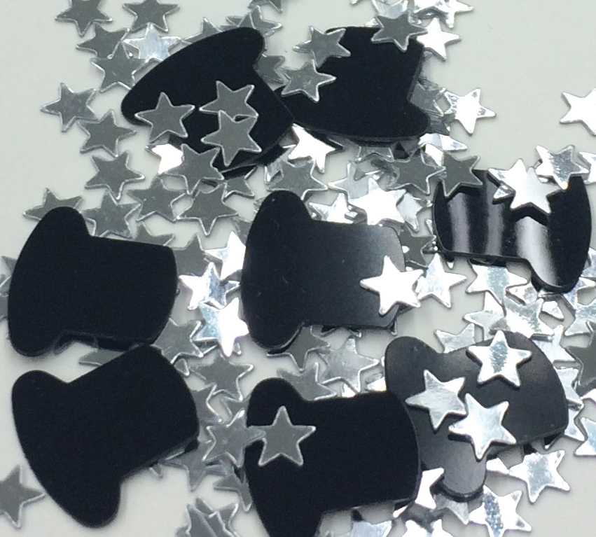 Silver and Black Metallic Confetti