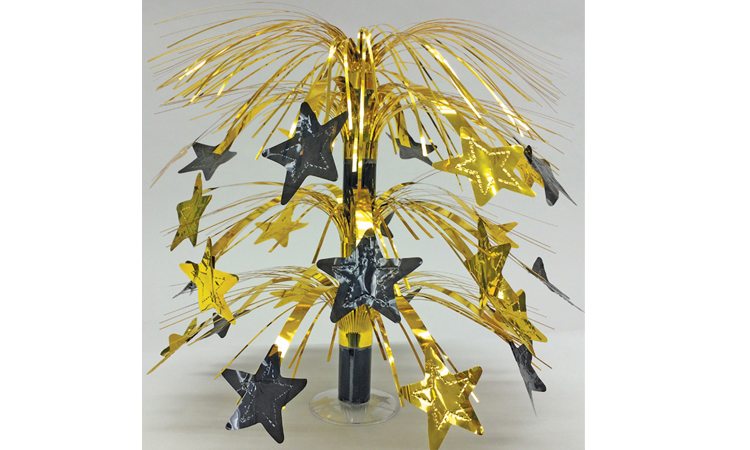 "18"" Gold & Black Star Table Centerpiece with Stand"