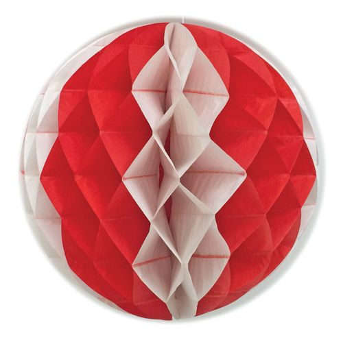 "14"" Red & White Honeycomb Balls"