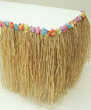 Natural Raffia Table Skirting with Flower Trim