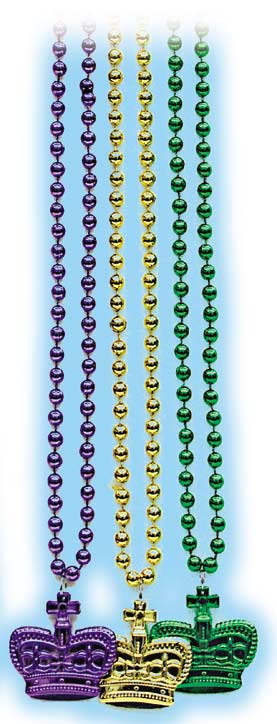 Metallic Bead with Metallic Mardi Gras Crown