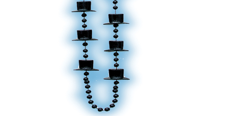 Black Metallic Top Hat Beads