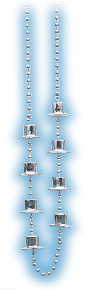 Silver Metallic Top Hat Beads