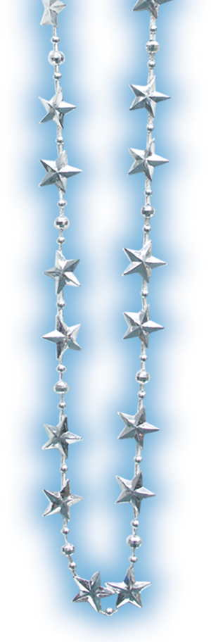 Silver Metallic Star Beads