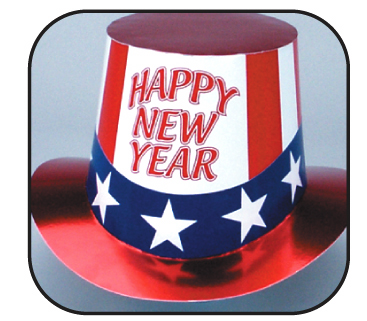 happy new year uncle sam curved brim top hat