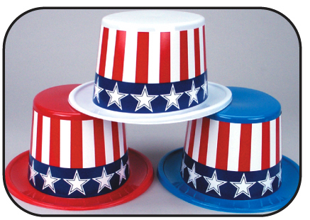 Patriotic Top Hats with Jumbo Stars & Stripes