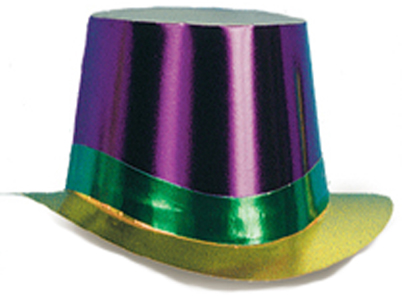 Mardi Gras Foil Curved Brim Top Hat