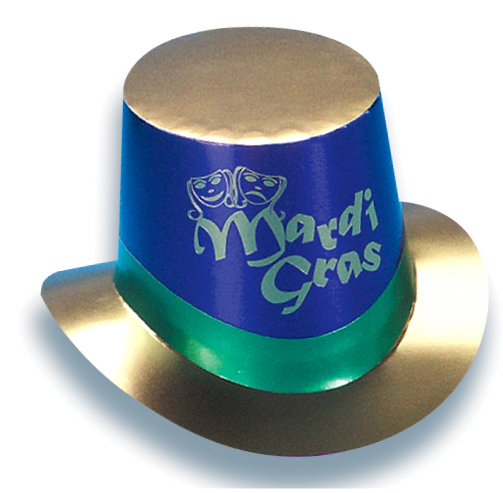 Mardi Gras Imprinted Foil Curved Brim Top Hat