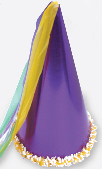 "15"" Mardi Gras Hat with Tassel & Trim"