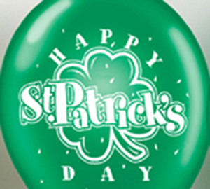 "11"" Green Helium Balloon with White Happy St. Patrick's Day"