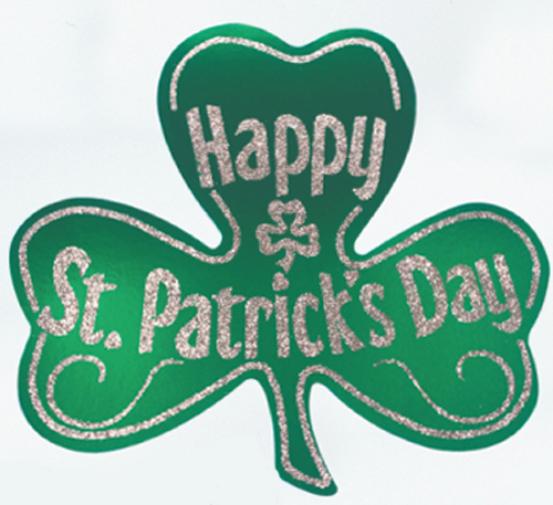 "15"" Foil Shamrock with Glittered Happy St. Patrick's Day"