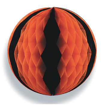 "14"" Black & Orange Honeycomb Tissue Ball"