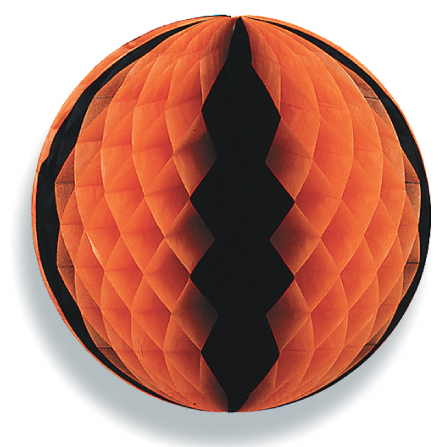 "19"" Orange & Black Honeycomb Tissue Ball"
