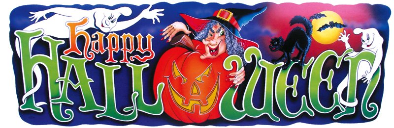 "40"" x 13"" Full Color Halloween Sign"