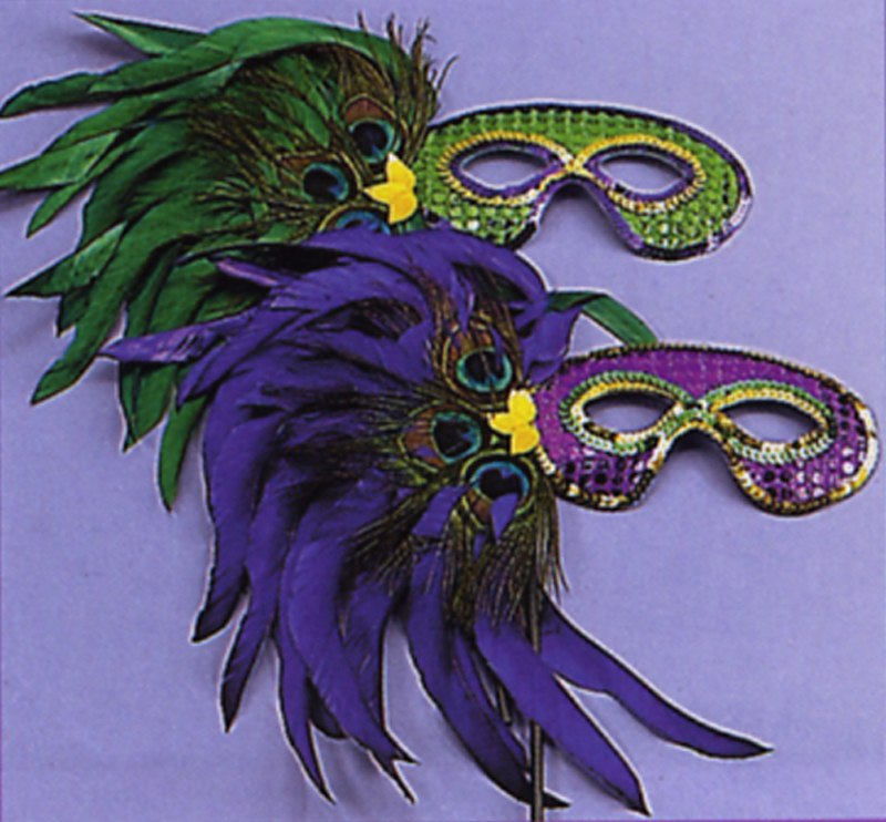 Sequin Mardi Gras Feather Masks
